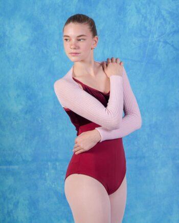 Купальник с велюровой вставкой для занятий балетом